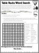 Table Rocks Word Search Puzzle Template With Answers