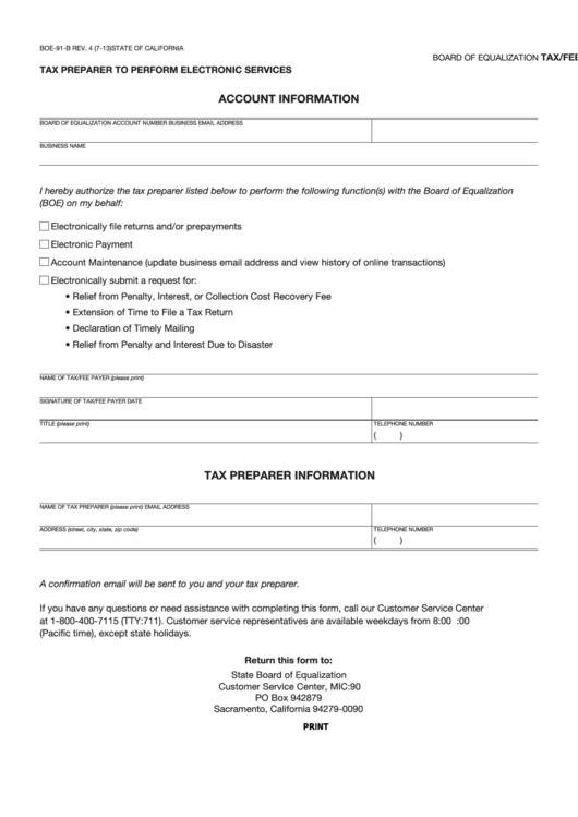 Fillable Form Boe-91-B - Tax/fee Payer Authorization For Tax Preparer To Perform Electronic Services Printable pdf