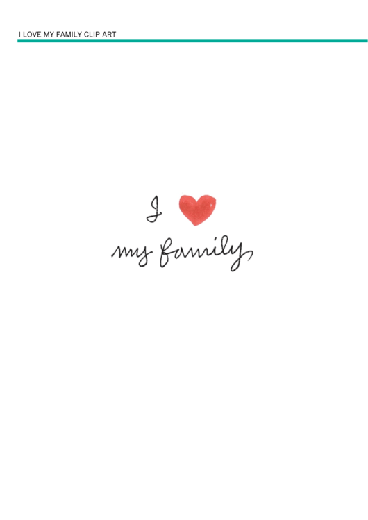I Love My Family Poster Template With Red Heart Printable pdf