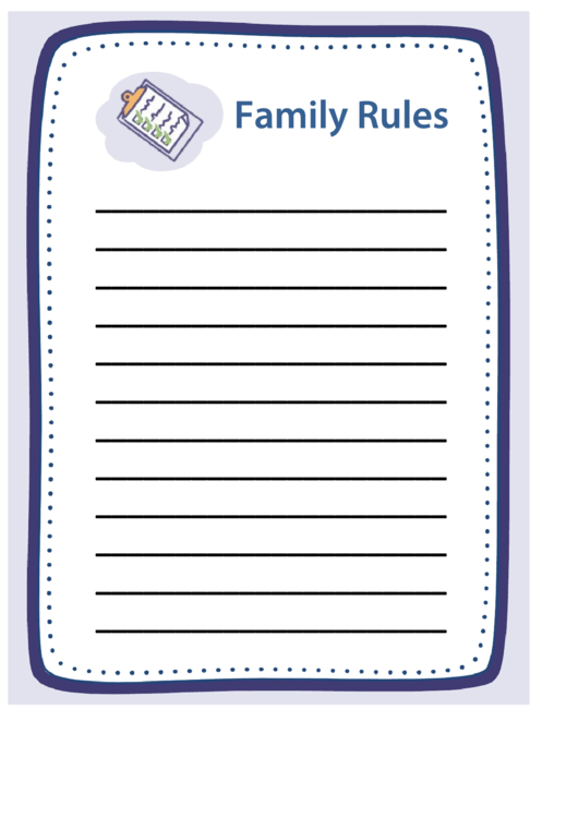 Family Rules Poster Template Printable pdf