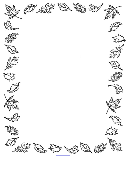 Fall Leaf Picture Frame Template - Black And White Printable pdf