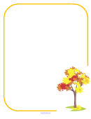 Yellow Border With Tree Picture Frame Template