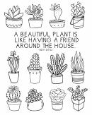 Black And White Beautiful Plants Bookshelf Poster Template