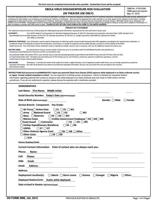 Dd Form 2990 - Ebola Virus Disease Exposure Risk Evaluation Printable pdf