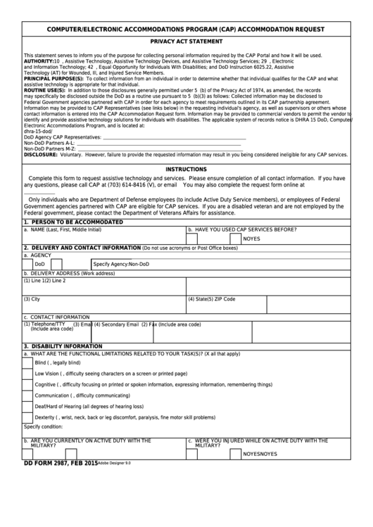 Fillable Dd Form 2987 - Cap Accommodation Request Printable pdf