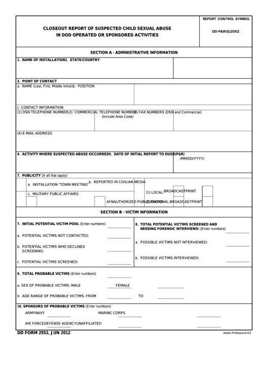 Fillable Dd Form 2952 - Closeout Report Of Suspected Child Abuse In Dod Operated Or Sponsored Activities Printable pdf