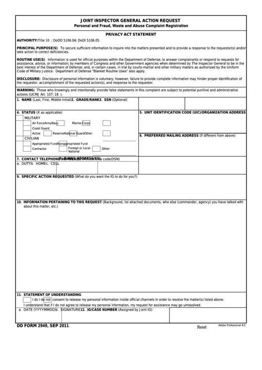 Fillable Dd Form 2949 - Joint Inspector General Action Request Printable pdf