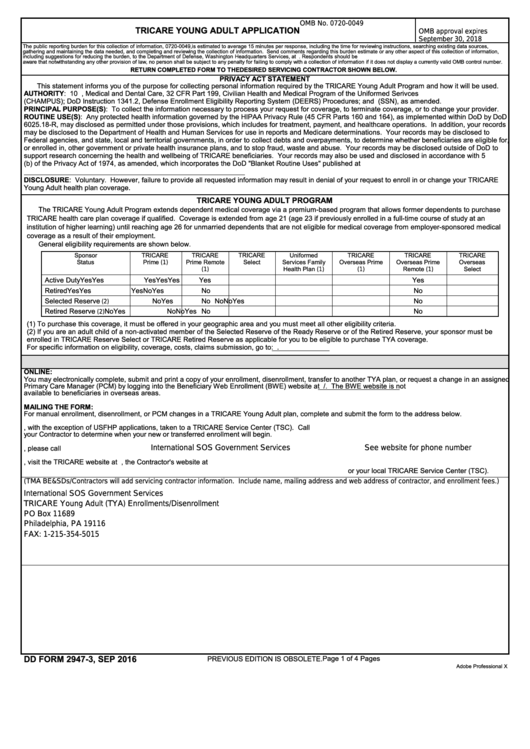 Dd Form 2947-3 - Tricare Young Adult Application