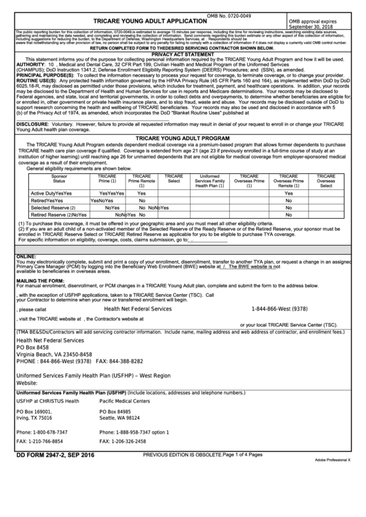 Fillable Dd Form 2947-2 - Tricare Young Adult Application Printable pdf
