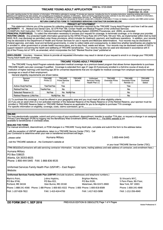 Fillable Dd Form 2947 1 Tricare Young Adult Application Printable