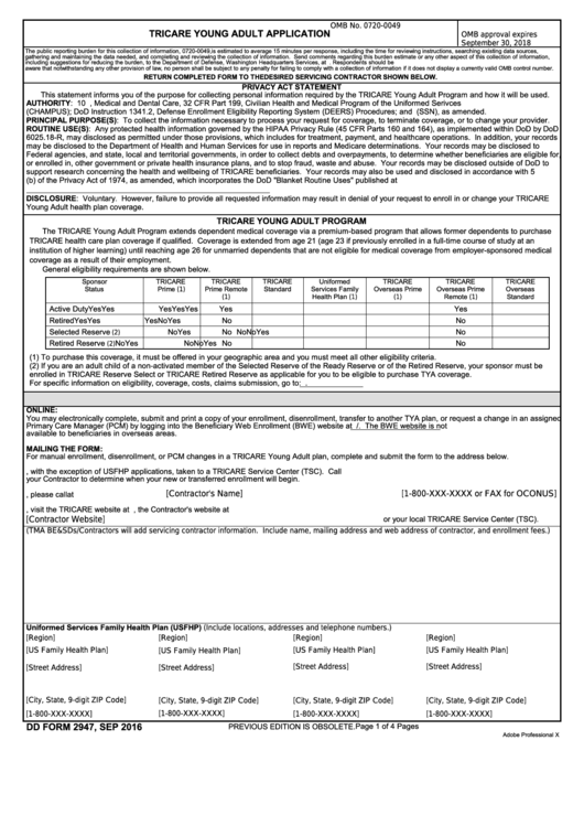 Fillable Dd Form 2947 - Tricare Young Adult Application Printable pdf