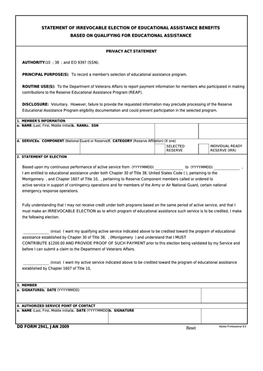 Fillable Dd Form 2941 - Statement Of Irrevocable Election Of Educational Assistance Benefits Printable pdf