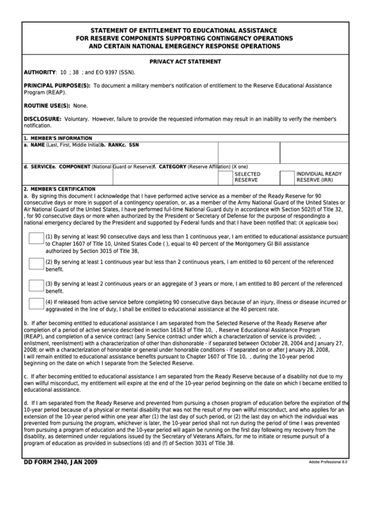 Fillable Dd Form 2940 - Statement Of Entitlement To Educational Assistance Printable pdf