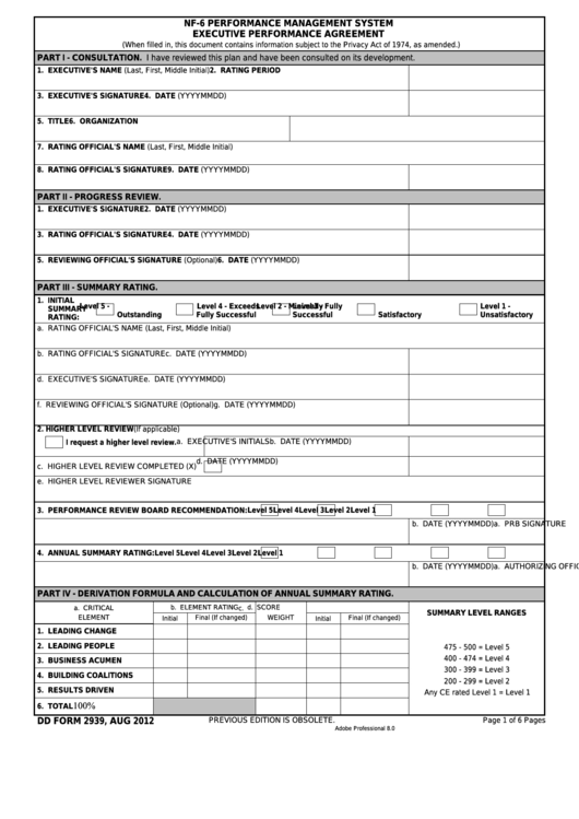 Fillable Dd Form 2939 - Nf-6 Performance Management System Executive Performance Agreement Printable pdf