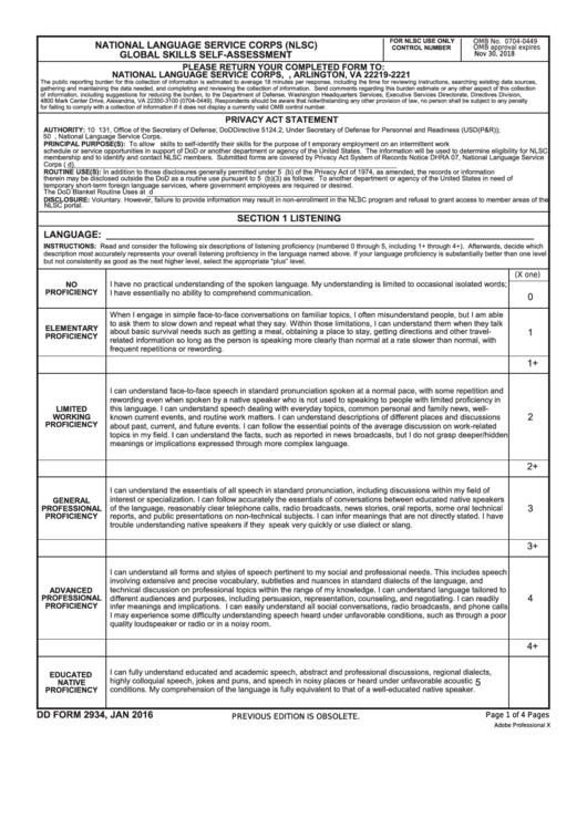 Fillable Dd Form 2934 - Nlsc Pilot Global Skills Self-Assessment Printable pdf