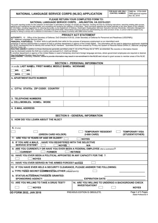 Fillable Dd Form 2932 - National Language Service Corps (Nlsc) Application Printable pdf