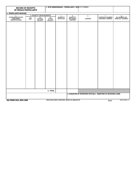 Fillable Dd Form 2914 - Record Of Receipts Of Missile Propellants Printable pdf
