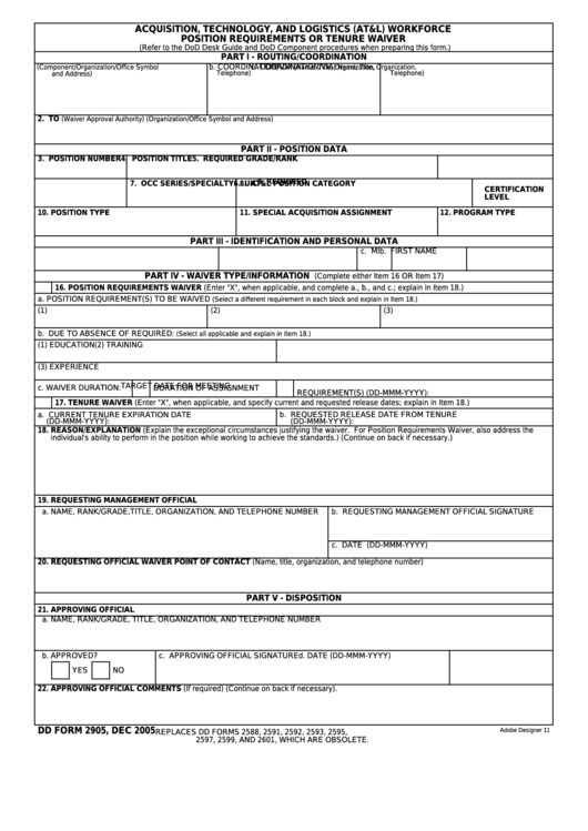 Fillable Dd Form 2905 - At&l Workforce Position Requirements Or Tenure Waiver Printable pdf