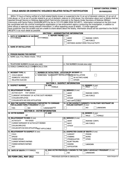 Fillable Dd Form 2901 - Child Abuse Or Domestic Violence Related Fatality Notification Printable pdf