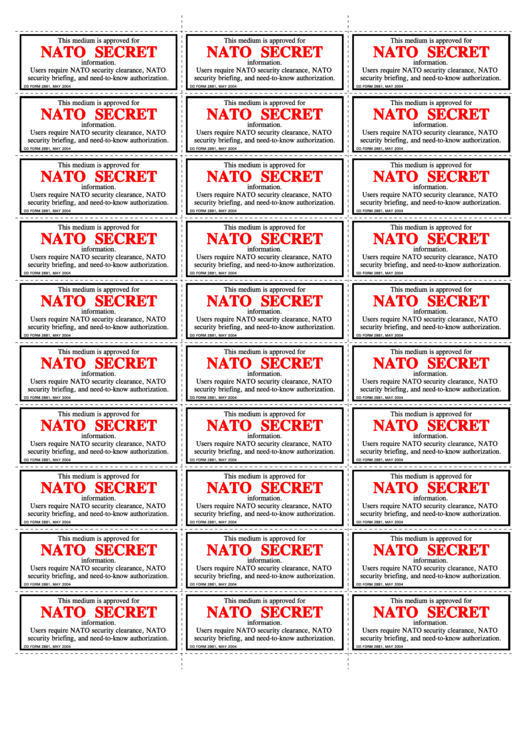 Fillable Dd Form 2881 - Nato Secret Label Printable pdf