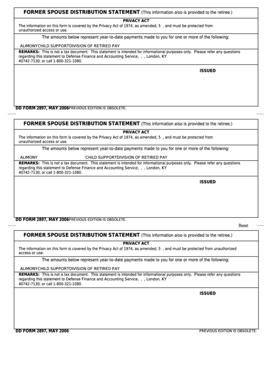 Fillable Dd Form 2897 - Former Spouse Distribution Statement Printable pdf