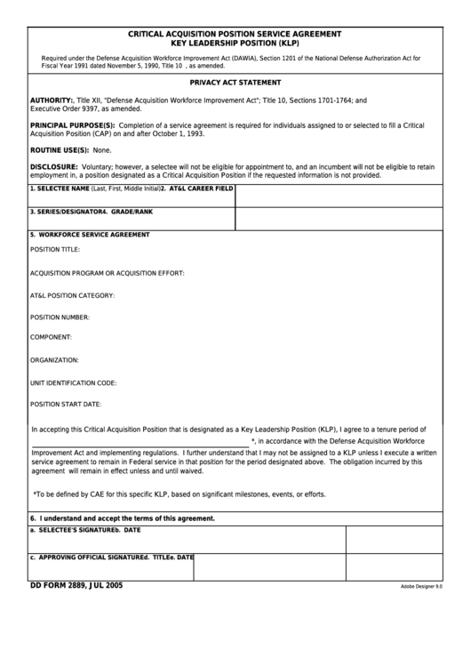 Fillable Dd Form 2889 - Critical Acquisition Position Service Agreement - Key Leadership Position (Klp) Printable pdf
