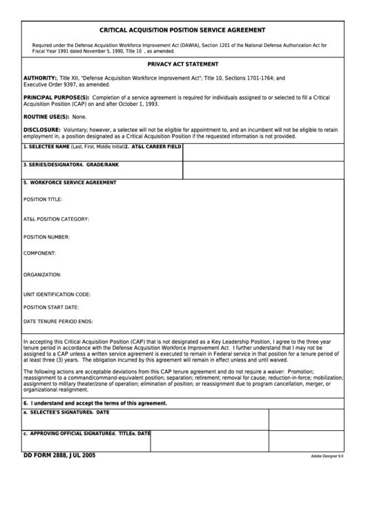 Fillable Dd Form 2888 - Critical Acquisition Position Service Agreement Printable pdf