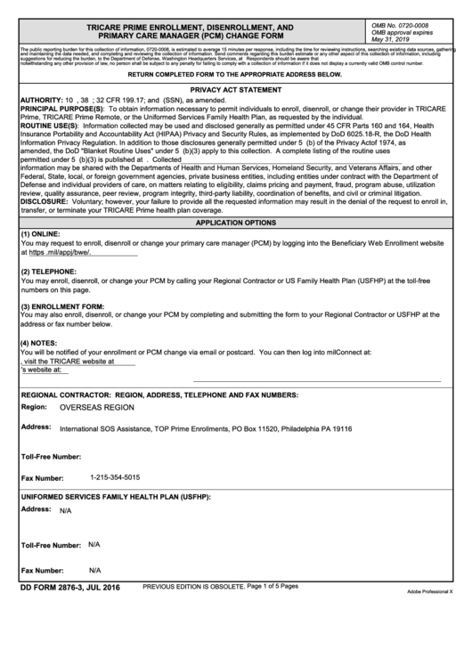 Dd Form 2876-3 - Tricare Prime Enrollment, Disenrollment, And Pcm Change Form