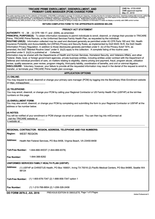 Fillable Dd Form 2876-2 - Tricare Prime Enrollment, Disenrollment, And Pcm Change Form Printable pdf
