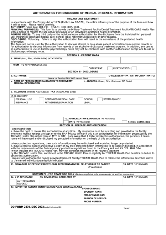 Dd Form 2870 - Authorization For Disclosure Of Medical Or Dental Information