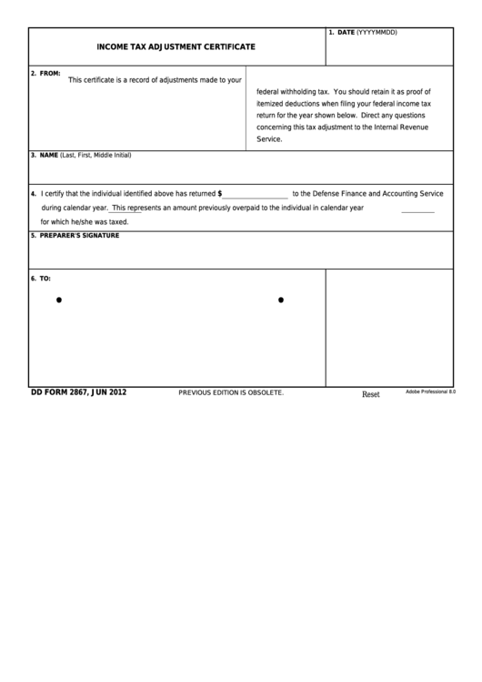 Fillable Dd Form 2867 - Income Tax Adjustment Certificate Printable pdf