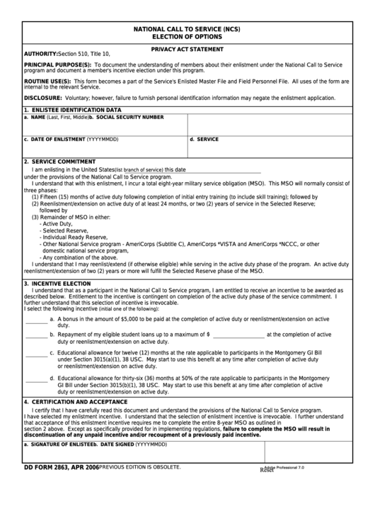 Fillable Dd Form 2863 - National Call To Service Election Of Options Printable pdf