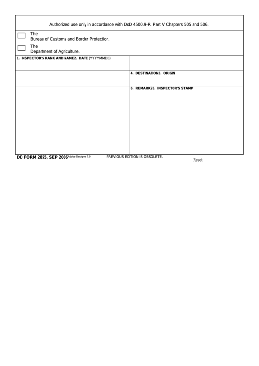 Fillable Dd Form 2855 - U.s. Military Agriculture And Customs Preclearance Program Printable pdf