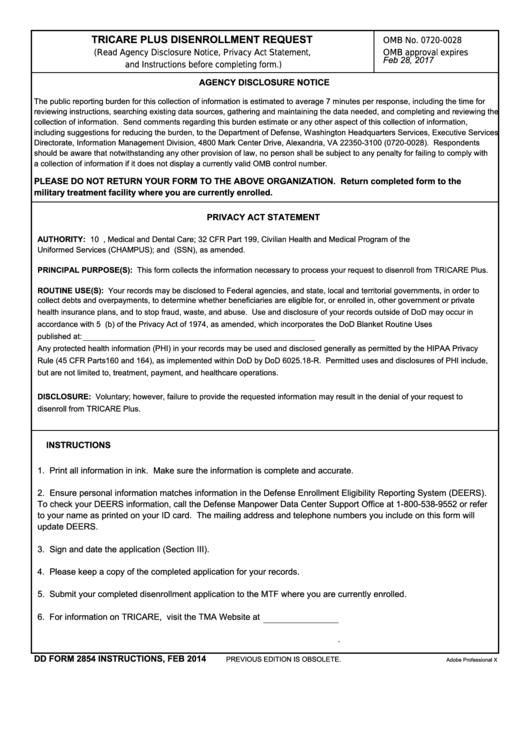 Fillable Dd Form 2854 Tricare Plus Disenrollment Request Printable