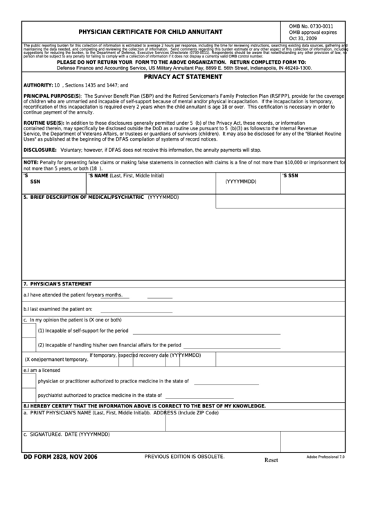 Fillable Dd Form 2828 - Physician Certificate For Child Annuitant Printable pdf