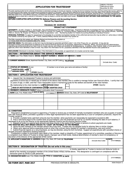 Dd Form 2827 - Application For Trusteeship
