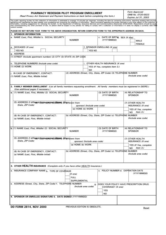 Fillable Dd Form 2814 - Pharmacy Redesign Pilot Program Enrollment Printable pdf