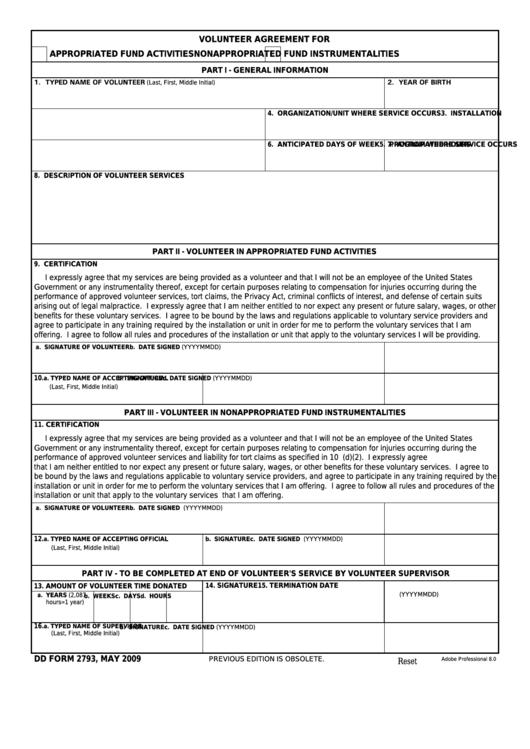 Fillable Dd Form 2793 - Volunteer Agreement Printable pdf