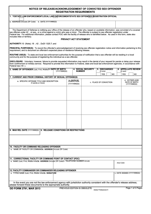 Fillable Dd Form 2791 - Notice Of Release/acknowledgement Of Convicted Sex Offender Registration Requirements Printable pdf