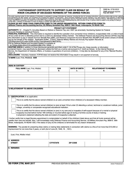 Fillable Dd Form 2790 - Custodianship Certificate To Support Claim On Behalf Of Minor Children Of Deceased Members Of The Armed Forces Printable pdf