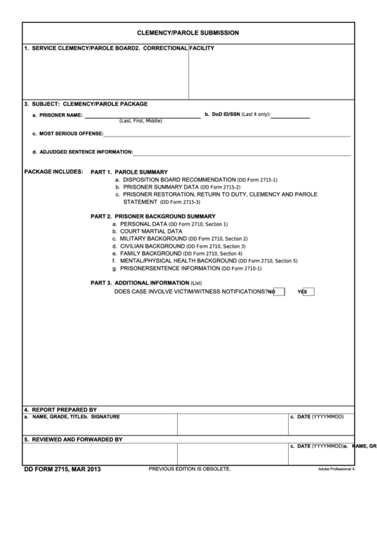 Fillable Dd Form 2715 - Clemency/parole Submission Printable pdf