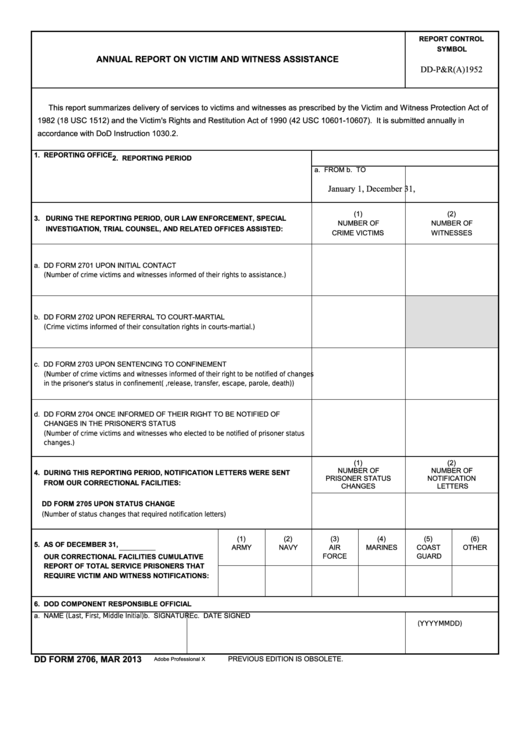 Fillable Dd Form 2706 - Annual Report On Victim And Witness Assistance Printable pdf
