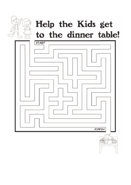 kids dinner thanksgiving maze template printable pdf download
