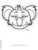 Koala Bow Mask Outline Template