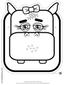 Hippo Bow Mask Outline Template
