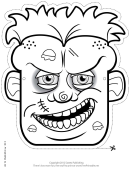 Zombie Male Mask Outline Template