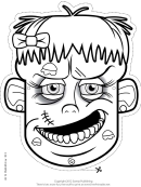 Zombie Female Mask Outline Template