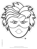 Superhero Female Mask Outline Template