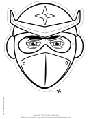 Ninja Helmeted Mask Outline Template