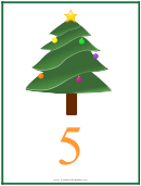 Number 5 Christmas Counting Template